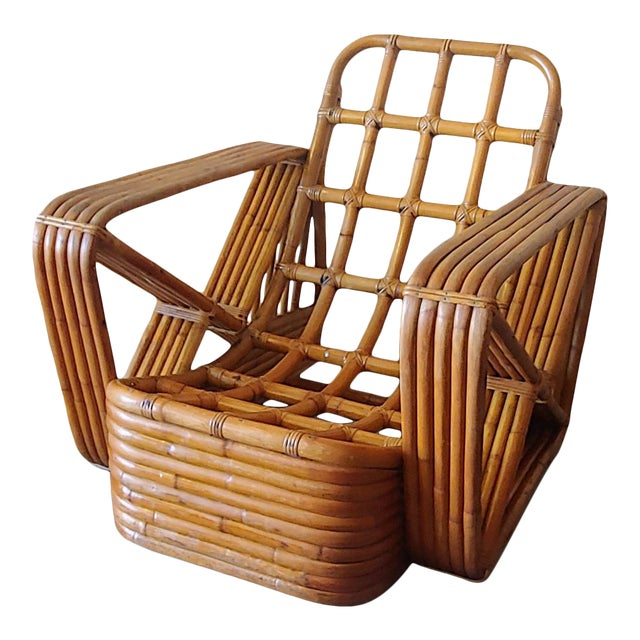 Mid 20th Century Paul Frankl Style Swoop Seat Rattan Lounge Chair For Sale