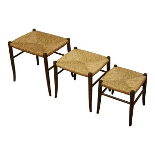 Vintage Mid-Century Modern Italian Rush Woven Tops Nesting Stools - Set of 3 For Sale