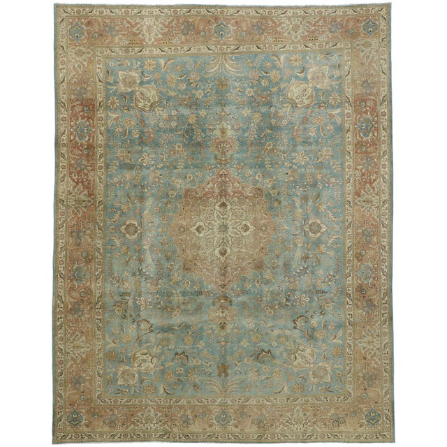 Vintage Tabriz Rug With Gustavian Style - 09'09 X 12'07 For Sale - Image 9 of 10