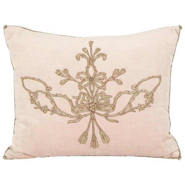 Early 21st Century Vintage Pillow With Antique Embroidery For Sale - Image 9 of 9