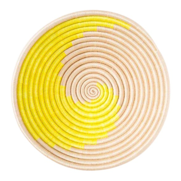Indego Africa Handwoven Citron Swirl Plateau Basket For Sale