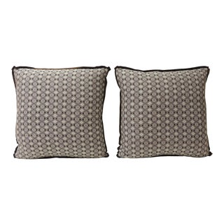 Pair of Brown and White Woven Swedish Decorative Pillows For Sale