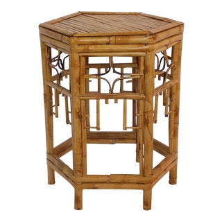 1980s Boho Chic Rattan Side Table For Sale