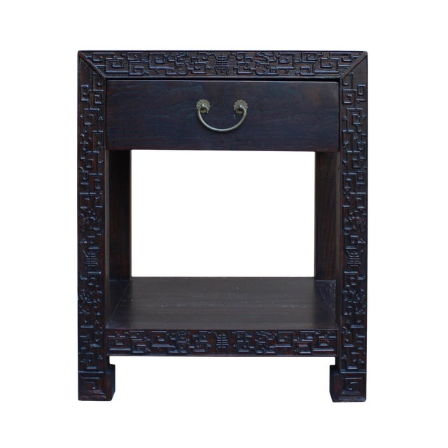 Chinese Oriental Brown Dragon Rim Carving End Table Nightstand For Sale