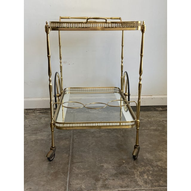 Vintage Brass Bar Cart with Tray For Sale - Image 4 of 12