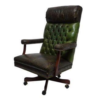 1980s Vintage Executive Leather Office Desk Chair For Sale