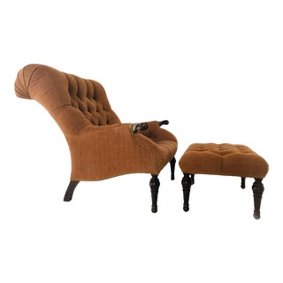 Tufted English Chair With Matching Ottoman For Sale