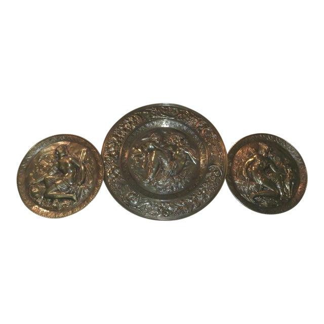 Hand Embossed Greek Mythology Wall Art Discs - Set of 3 For Sale