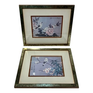 Asian Painted Silk Prints of Bird on a Branch - a Pair For Sale