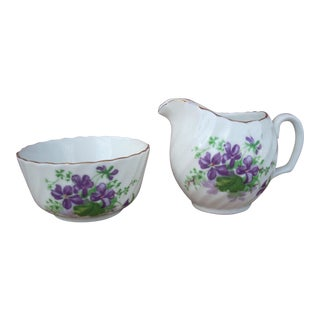 Adderley Violet Bunches Cream & Sugar Set