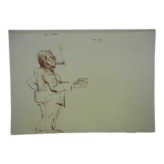 David Fredenthal Original Vintage Drawing-Mid Century Suez Crisis-Fulgencio Batista President of Cuba For Sale