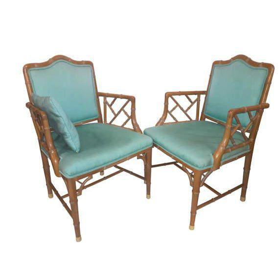 Chinese Chippendale Regency Faux Bamboo Turquoise Chairs - A Pair - Image 2 of 6