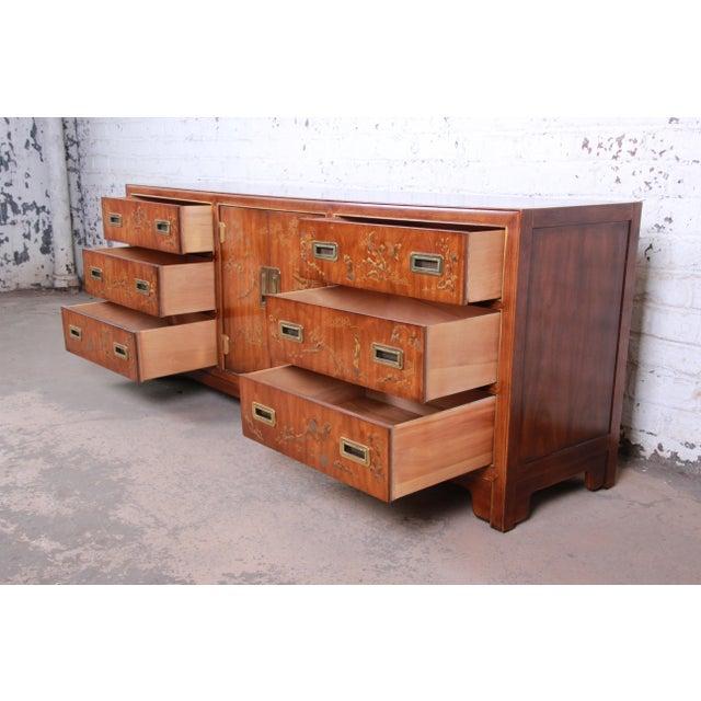 Drexel Heritage Drexel Heritage Hollywood Regency Chinoiserie Long Dresser or Credenza For Sale - Image 4 of 13