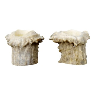 Burred Antler Candlesticks - a Pair For Sale