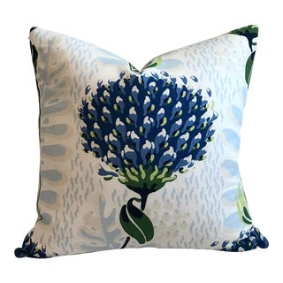 Thibaut Tiverton in Blue and Green Designer Pillow Cover For Sale