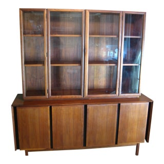 Milo Baughman for Dillingham Mid-Century Credenza & Glass Hutch Case - A Pair