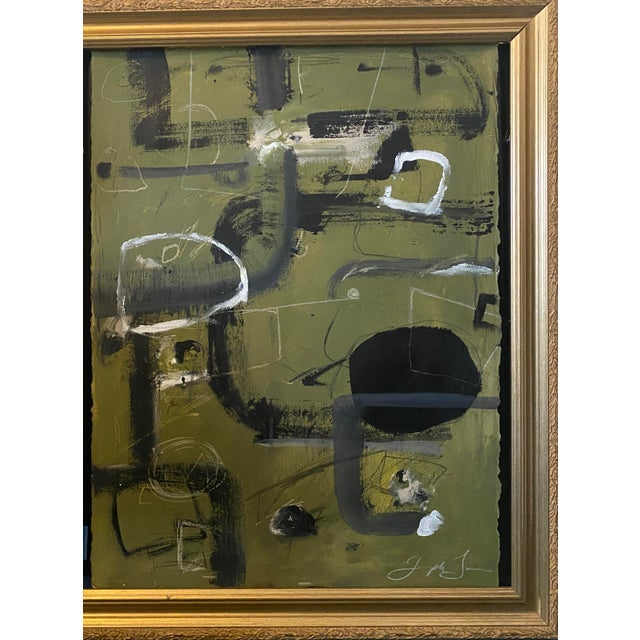 """Contemporary """"Tennis Court"""" Contemporary Painting by Joe Turner in Antique Frame For Sale - Image 3 of 6"""