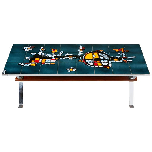 1960s Italian Chrome and Ceramic Tile Top Coffee Table, Signed For Sale