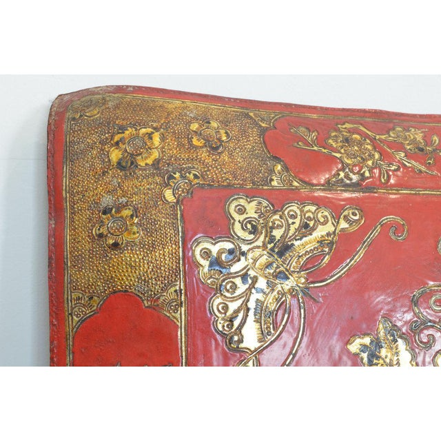 Leather Chinese Embossed Leather Cushions For Sale - Image 7 of 11