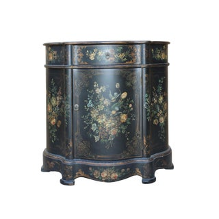Chinese Oriental Black Gold Lacquer Flower Graphic Side Table For Sale