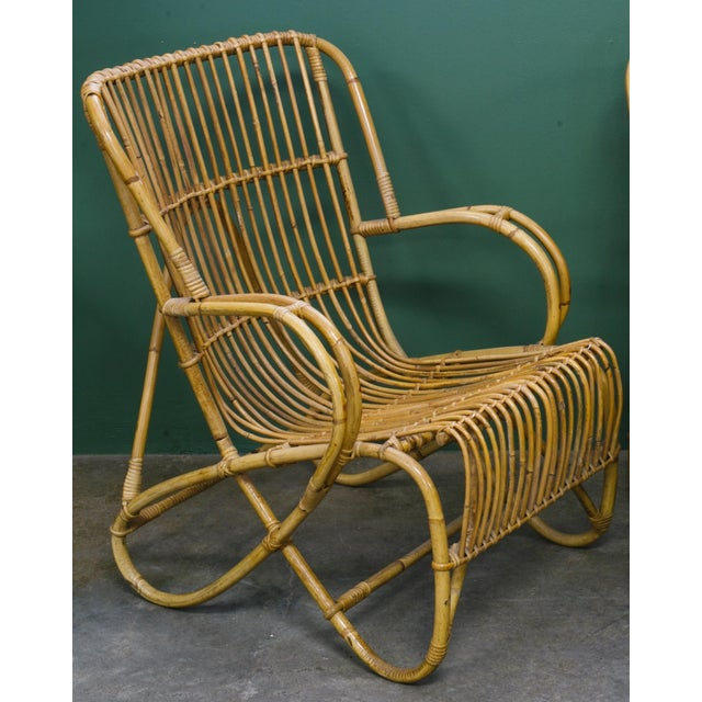 Boho Chic Rohe Noordwolde Mid-Century Rattan and Bamboo Lounge Chairs - a Pair For Sale - Image 3 of 4