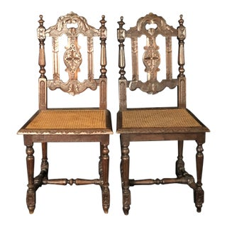 French Carved 19th Century Henri II Oak Chairs With Caned Seats -A Pair For Sale
