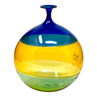 Small Murano Glass Blue and Green Striped Vase For Sale