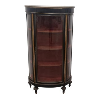 Antique French Napoleon III Black Lacquered W/ Brass Inlay Curved Glass Curio Cabinet W/ Marble Top C1890 For Sale