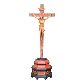 19th Century Carved Wood Crucifix For Sale