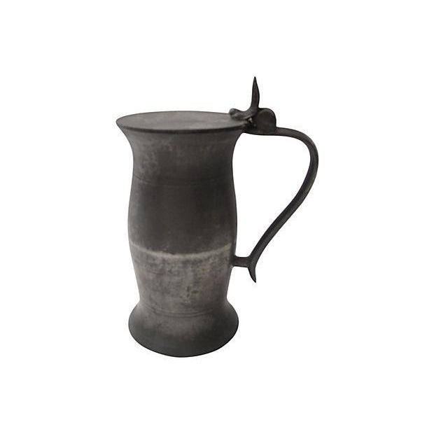 Antique English Polished Pewter Tankard - Image 1 of 4