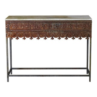 Rustic Custom Made Modern Garden Iron Console For Sale
