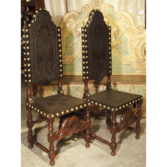 Pair of Antique Oak, Leather, and Brass Side Chairs From Portugal, 19th Century For Sale - Image 10 of 13
