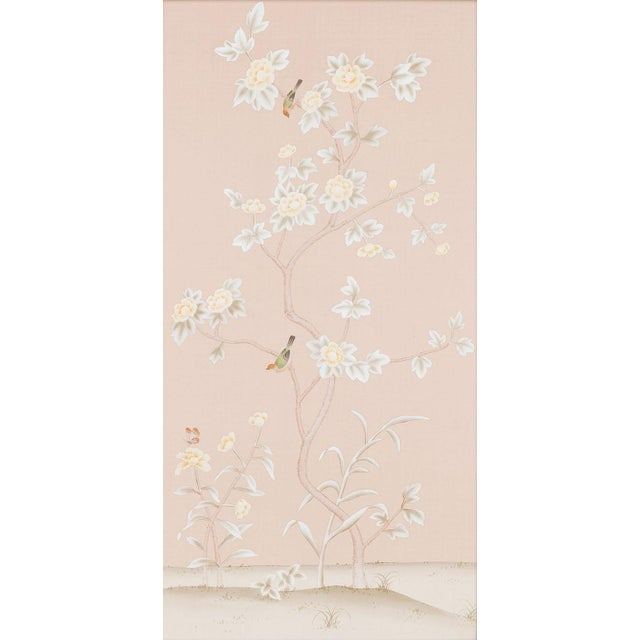Traditional Chinoiserie hand-painted silk wallpapers customarily adorning English and French estates and chateaux since...