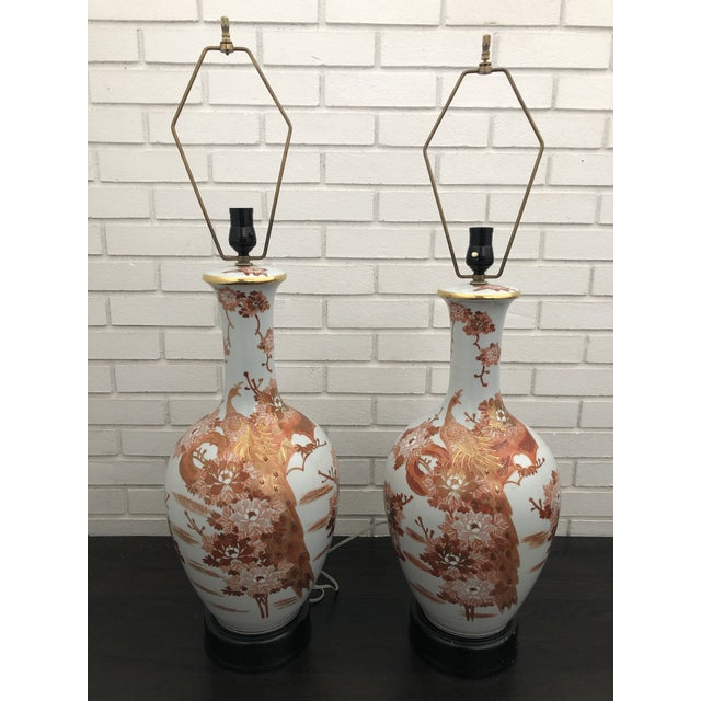 1960s Mid Century Japanese Peacock Kutani Lamps - a Pair For Sale - Image 11 of 11