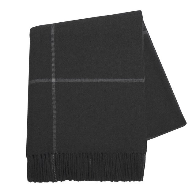 Onyx windowpane cashmere throw