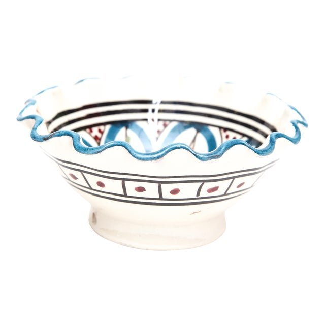 Small Moroccan Hand Painted Turquoise Bowl - Image 1 of 3
