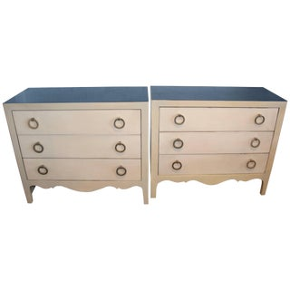 Goat Skin Parchment Covered Three-Drawer Stands - a Pair For Sale