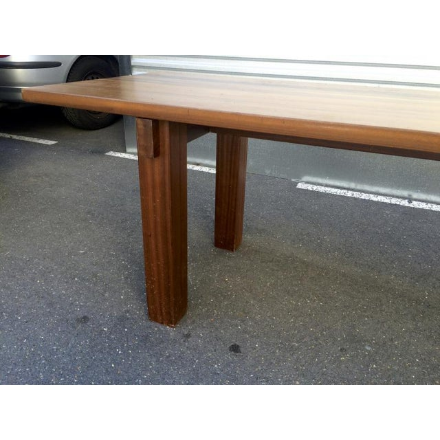 "Contemporary Charlotte Perriand Mahogany Long Dining Table Model ""Brazil"" Stamped Ed Sentou For Sale - Image 3 of 8"