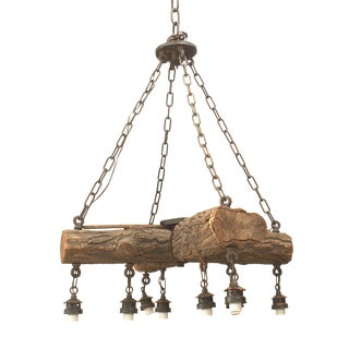 Early 20th C. American Rustic Log Chandelier For Sale