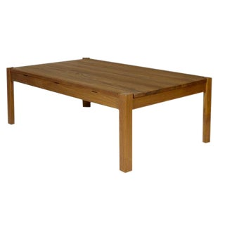 1960s Danish Solid Teak Reversible Top Coffee Table For Sale