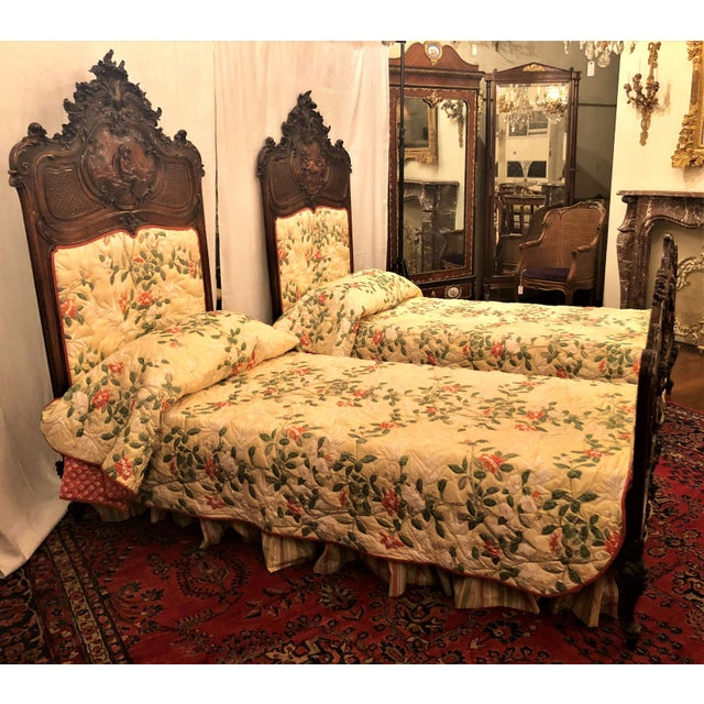 Red Pair Antique French Museum Quality Walnut Beds, Circa 1860-1880. One of the Finest Examples of Wood Carver's Art of the 19th Century. For Sale - Image 8 of 9