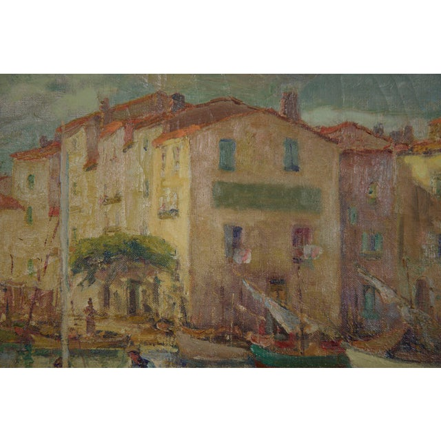 Blue French Impressionism Antique Oil Painting of Fishing Harbor by Paul Balmigere For Sale - Image 8 of 13