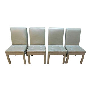 Quality Set of 4 Leather Parsons Dining Chairs For Sale