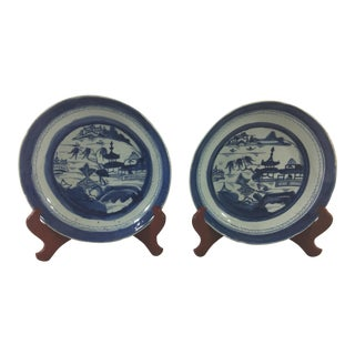 Antique Blue and White Canton Pie Plates - a Pair For Sale