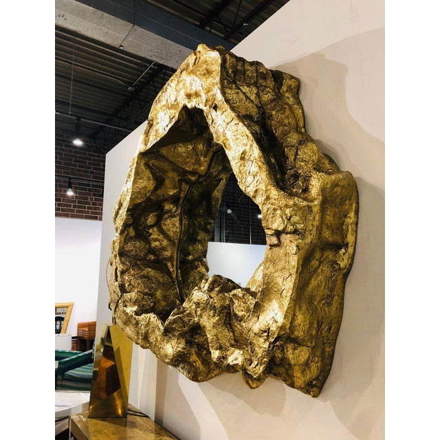 Large Modern Gold Leaf Wall Mirror For Sale - Image 4 of 6