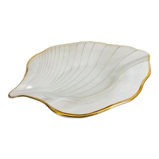 Vintage Art Glass Leaf Tray For Sale