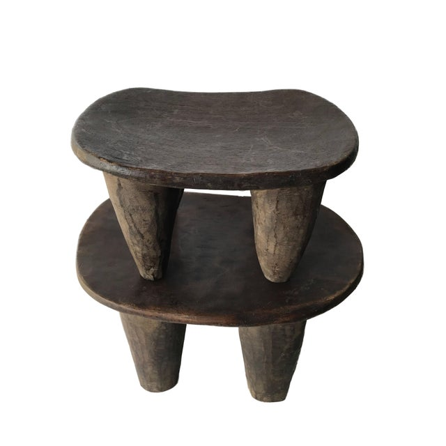 Wood African Senufo Wood Milk Stool I . Coast S/ 2 For Sale - Image 7 of 9