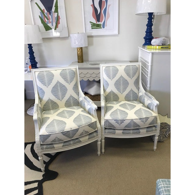 Blue Highland House Blue and White Embroidered Fabric Armchairs- A Pair For Sale - Image 8 of 8