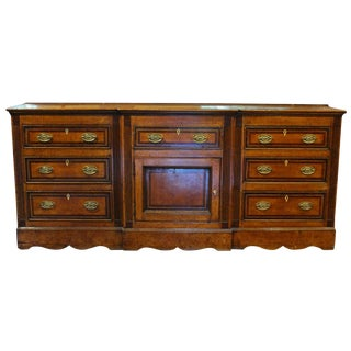 1780s English Oak Cross Banded Mahogany Dresser Base