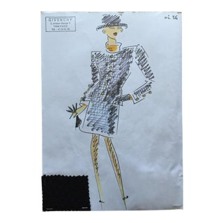 Givenchy Business Suit Croquis Fashion Sketch For Sale
